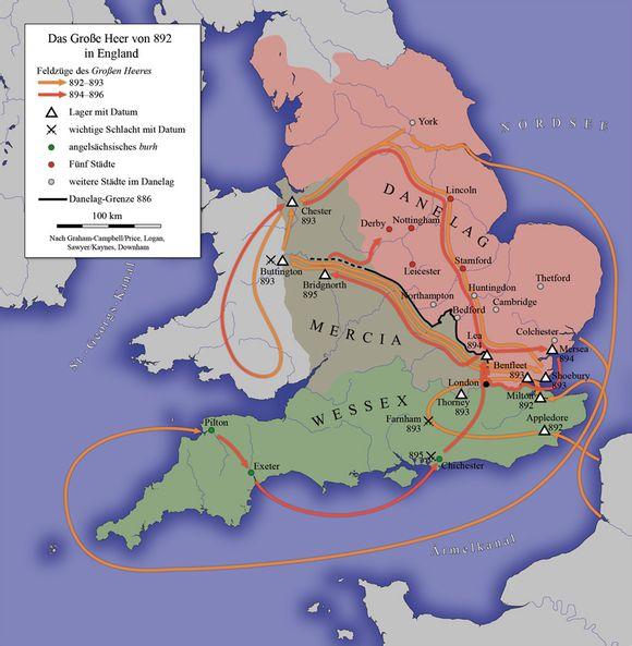盎格鲁-撒克逊时期英格兰与维京人的历次战役表图片