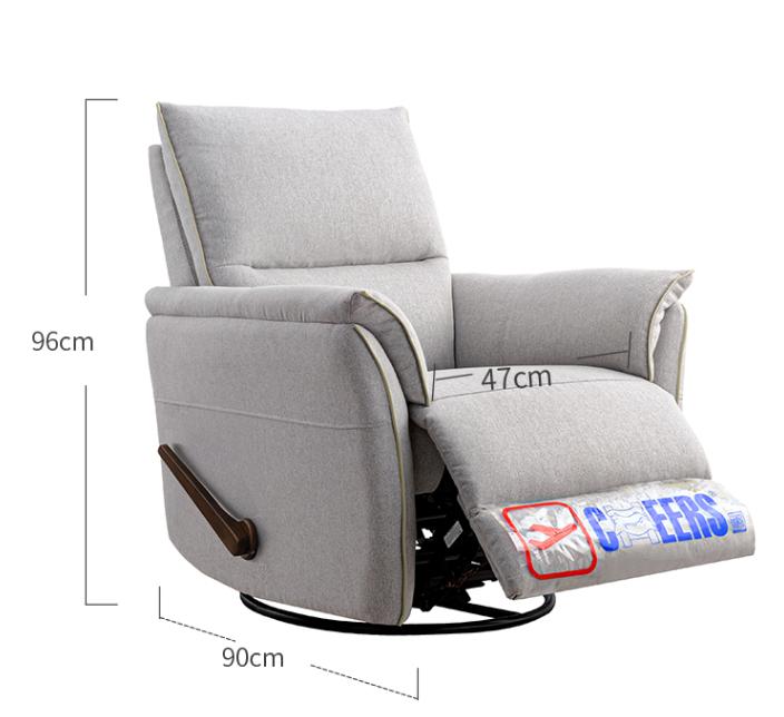 芝华仕50177款(浅灰色)单人木柄布艺沙发